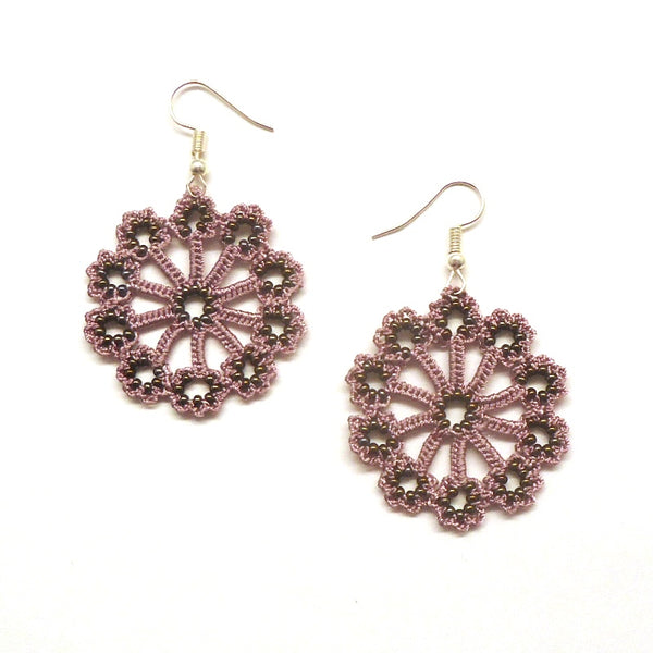 Silk Crochet and Seed Bead Earrings - Orchid
