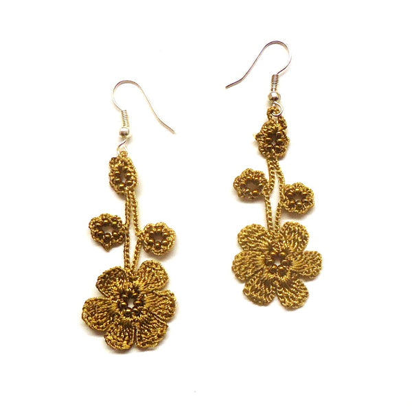 Silk Crochet and Seed Bead Earrings - Gold