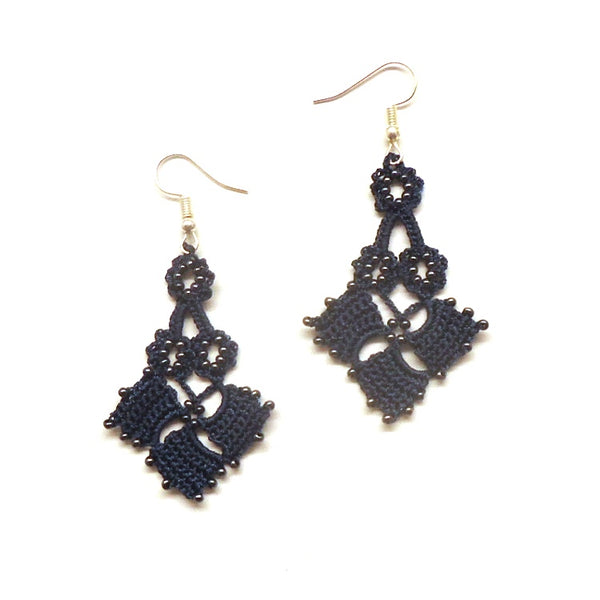 Silk Crochet and Seed Bead Earrings - Navy