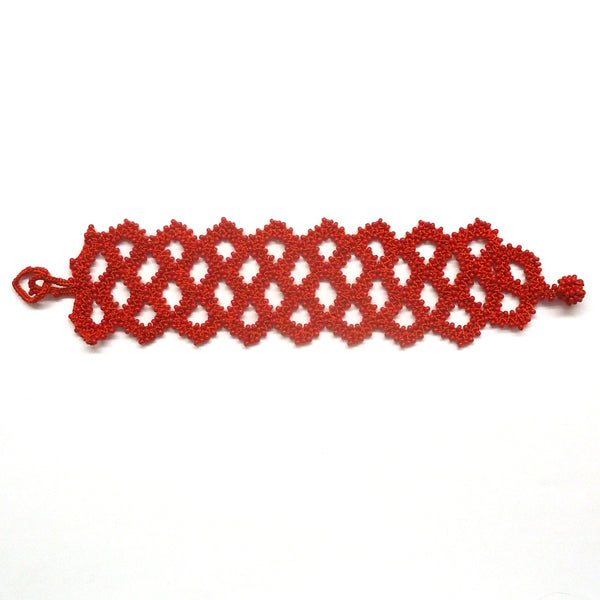 Silk Crochet and Seed Bead Bracelet - Red