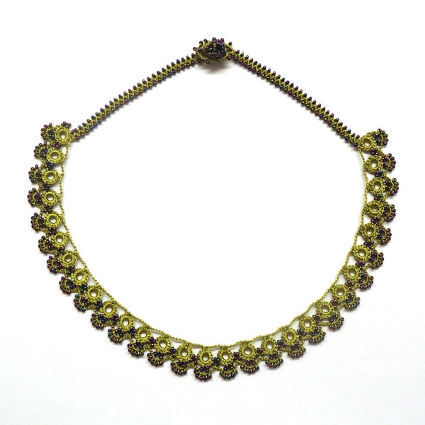 Silk Crochet and Seed Bead Necklace - Chartreuse
