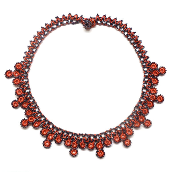 Silk Crochet and Seed Bead Necklace - Coral