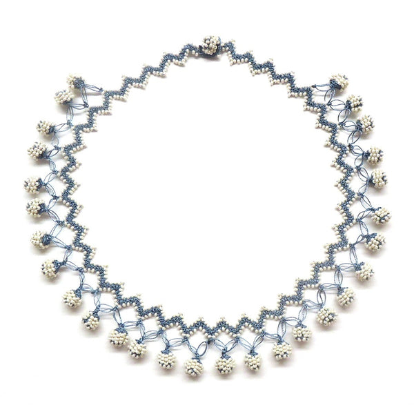 Silk Crochet and Seed Bead Necklace - Blue & White
