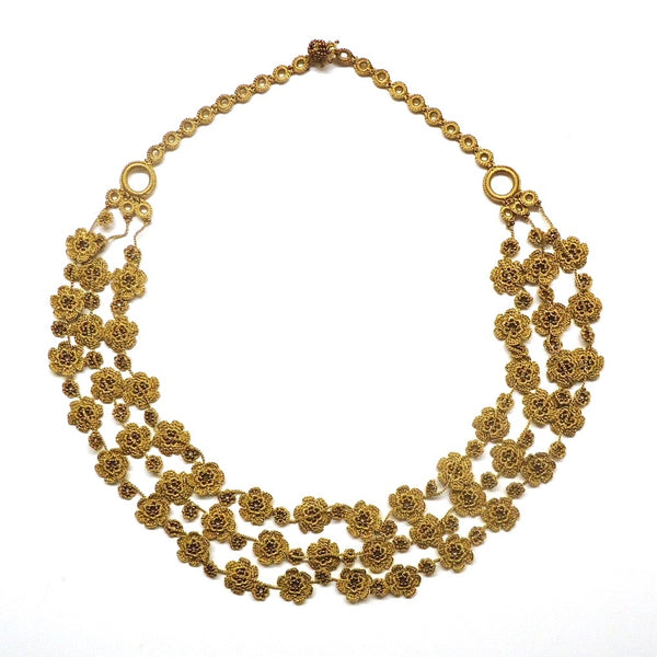 Silk Crochet and Seed Bead Necklace - Gold