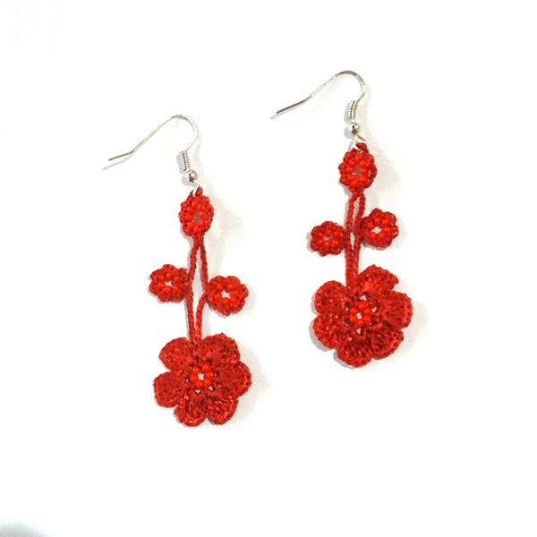 Pansy Earrings - Red