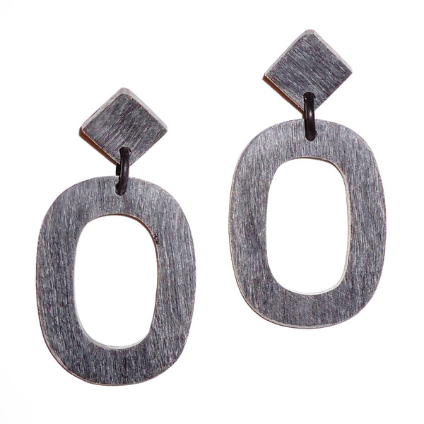 Black Horn Earrings - Single Oval