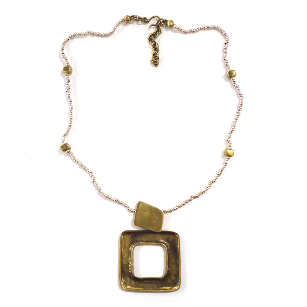 Bronze Hollow Square Pendant