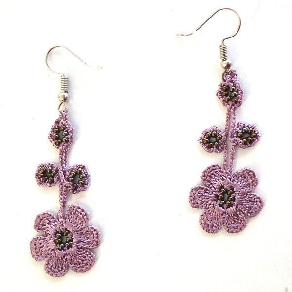 Pansy Earrings - Orchid