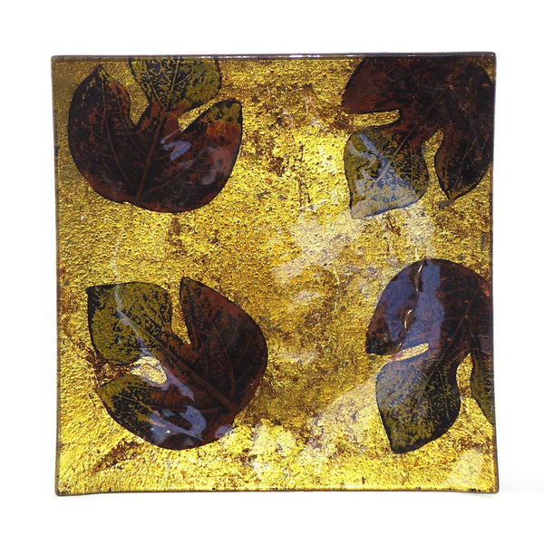 Glass Plate with Leaves