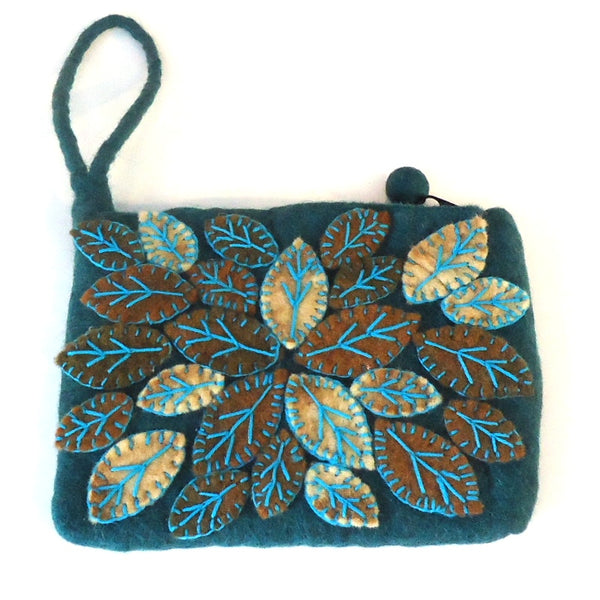 Leaf Cluster Purse, Teal