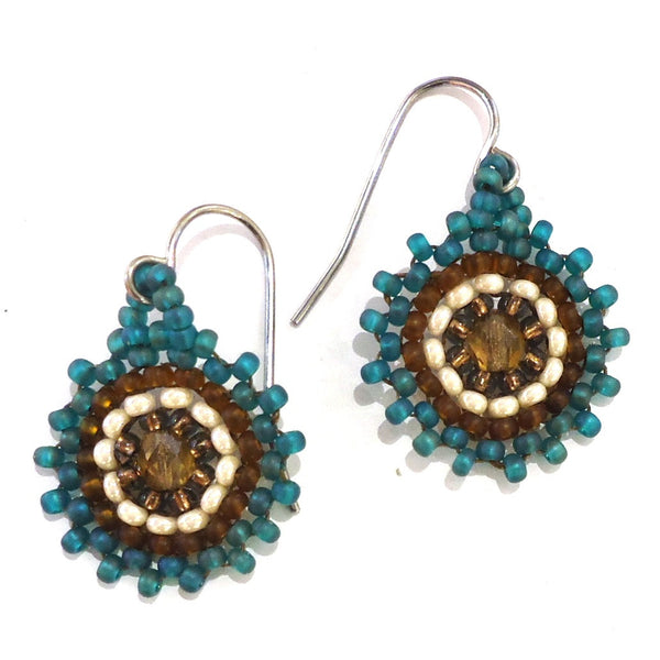Mayan Earrings, Drop Button