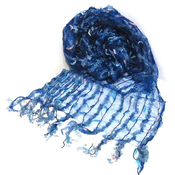 Silk Scarf with Textured Stripes