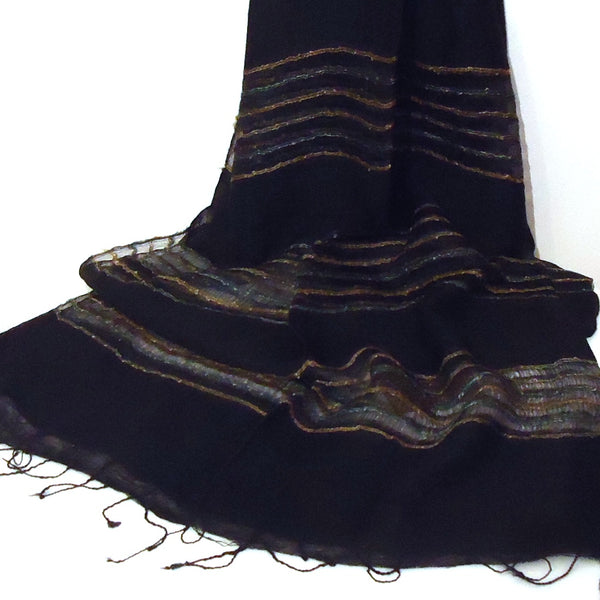 Silk Scarf with Striped Bands - Black