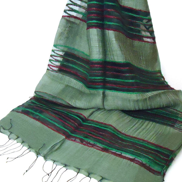 Silk Scarf with Striped Bands - Green