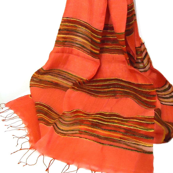 Silk Scarf with Striped Bands - Red