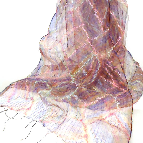 Silk Scarf with Fiber Stitching - Pink