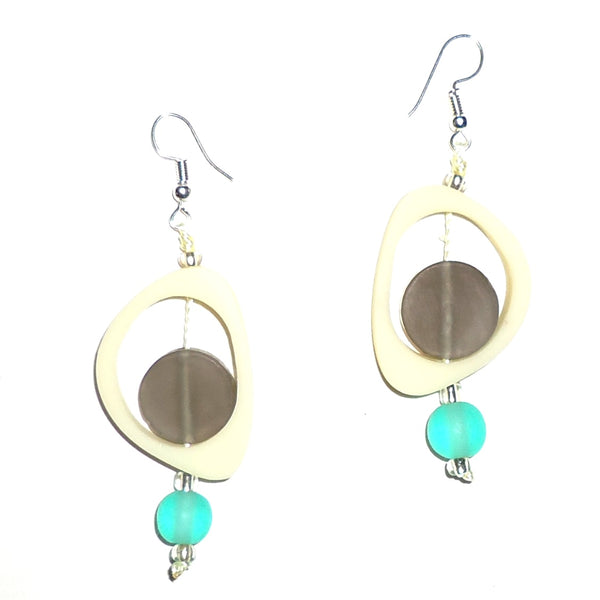 Ovoid Resin Earrings - Cream