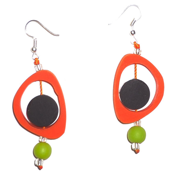 Ovoid Resin Earrings - Orange