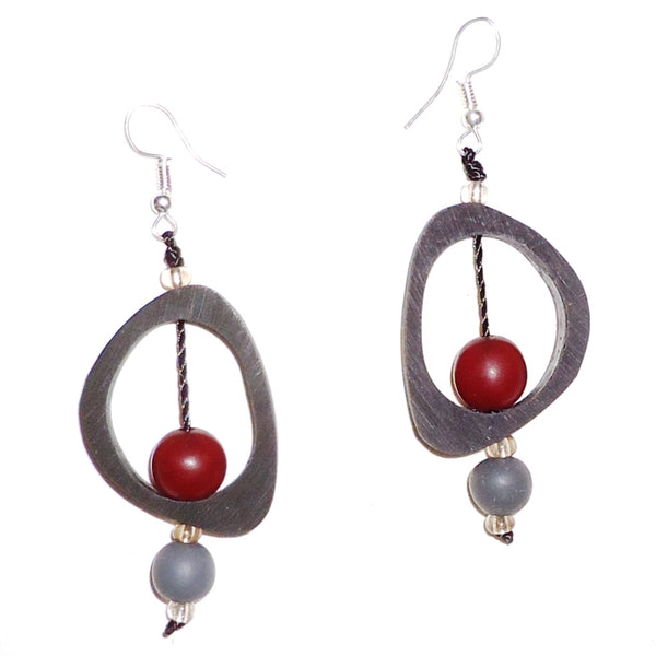 Ovoid Resin Earrings - Black