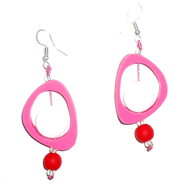 Ovoid Resin Earrings - Fuchsia