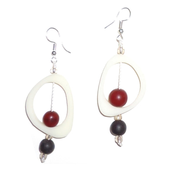 Ovoid Resin Earrings - White