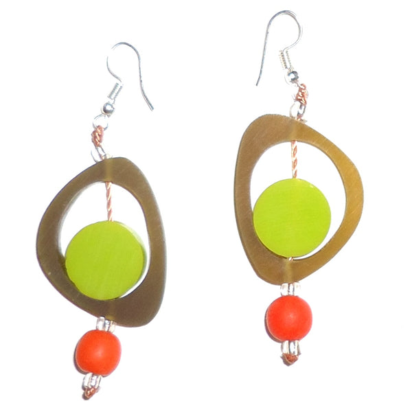 Ovoid Resin Earrings - Olive