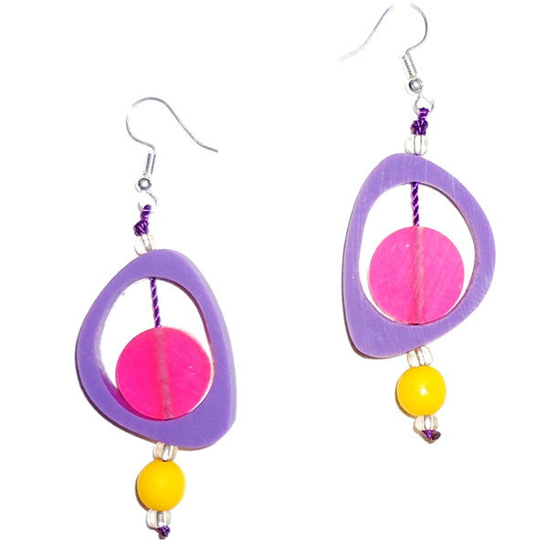 Ovoid Resin Earrings - Lavender