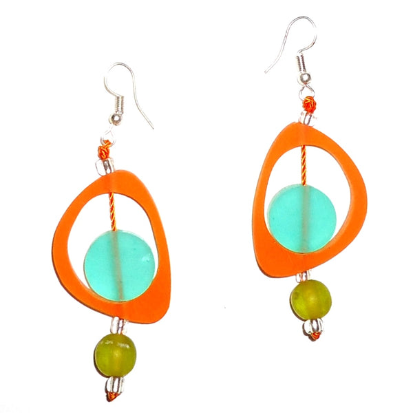 Ovoid Resin Earrings - Tangerine