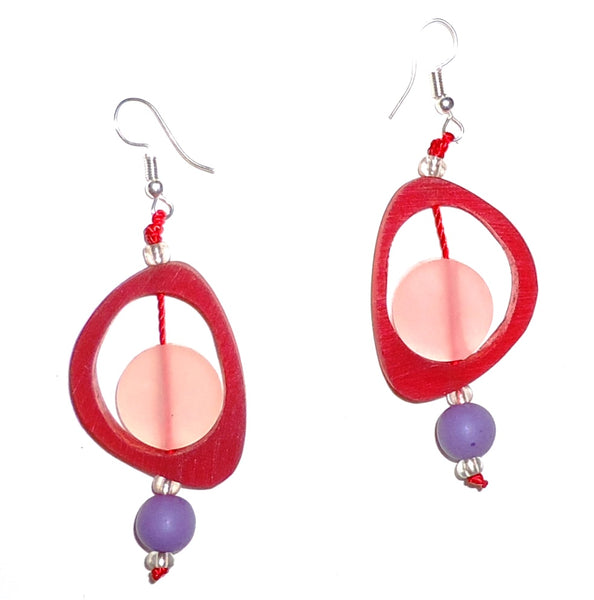 Ovoid Resin Earrings - Berry