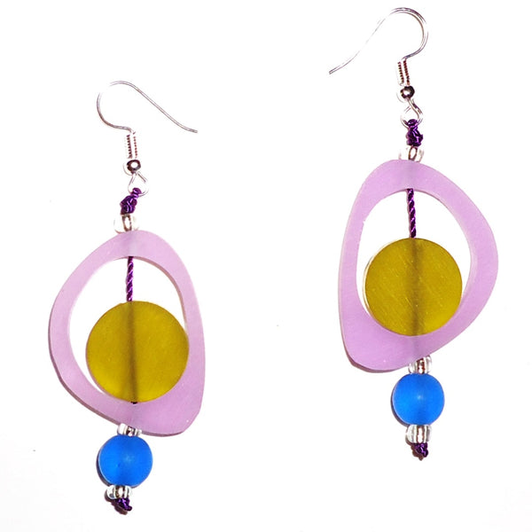 Ovoid Resin Earrings - Orchid