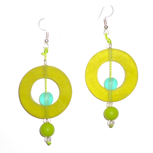 Circle Resin Earrings - Chartreuse