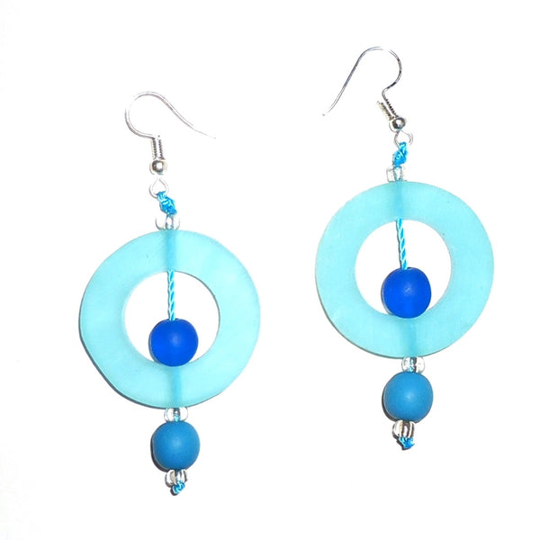 Circle Resin Earrings - Sky