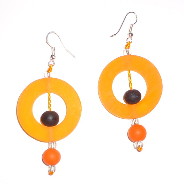 Circle Resin Earrings - Melon