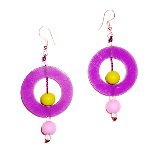 Circle Resin Earrings - Plum