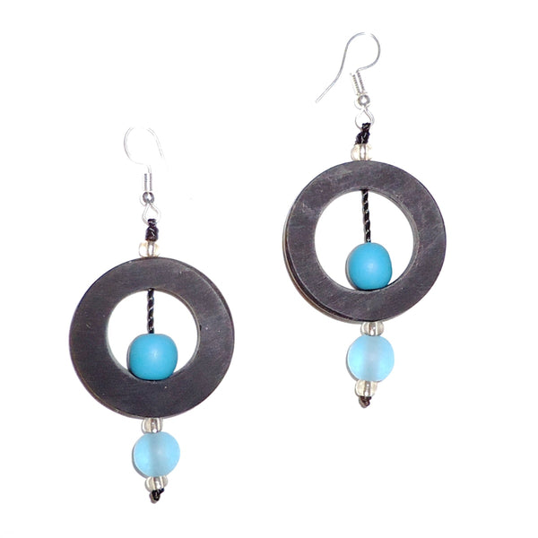 Circle Resin Earrings - Black