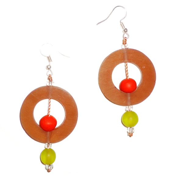 Circle Resin Earrings - Cinnamon