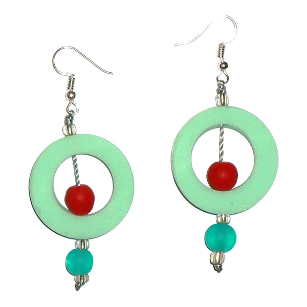 Circle Resin Earrings - Sea Green