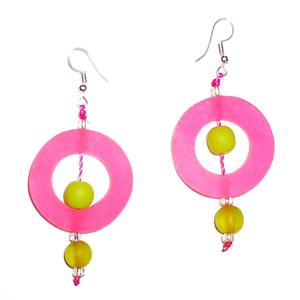 Circle Resin Earrings - Pink
