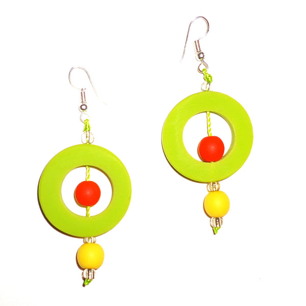 Circle Resin Earrings - Lime