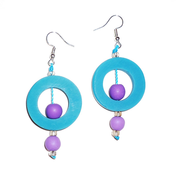 Circle Resin Earrings - Cerulean