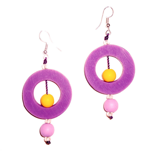 Circle Resin Earrings - Purple