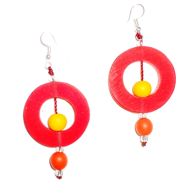 Circle Resin Earrings - Watermelon
