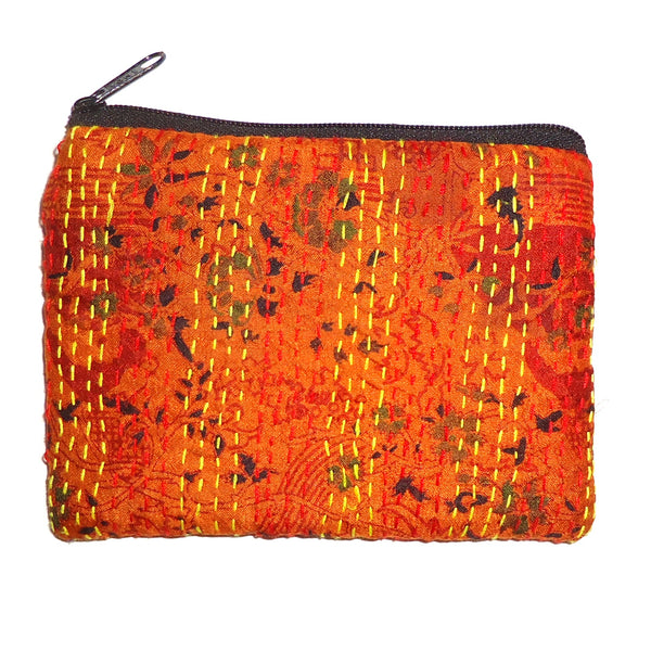 Silk Coin Purse, Small - Orange