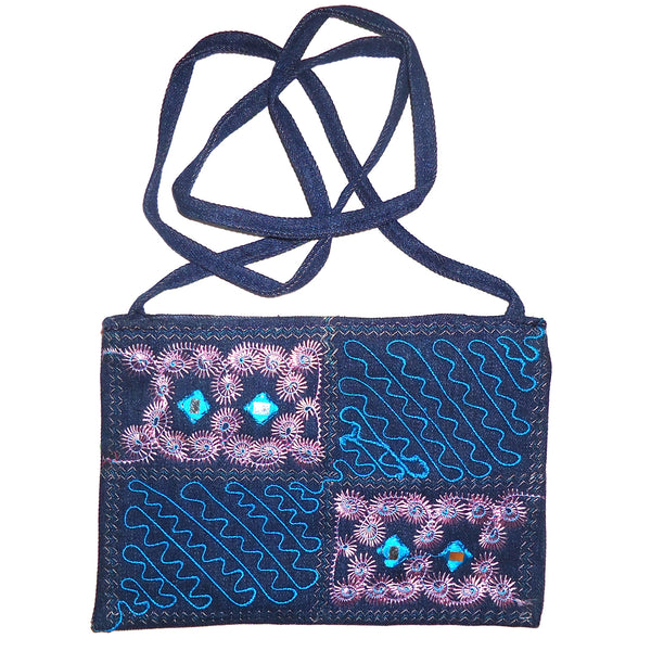 Denim Purse with Embroidery - Dark