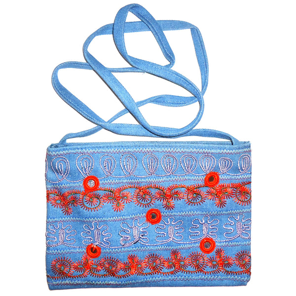 Denim Purse with Embroidery - Light