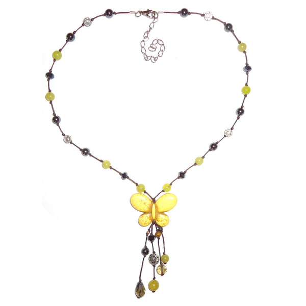 Yellow Butterfly Bead Necklace