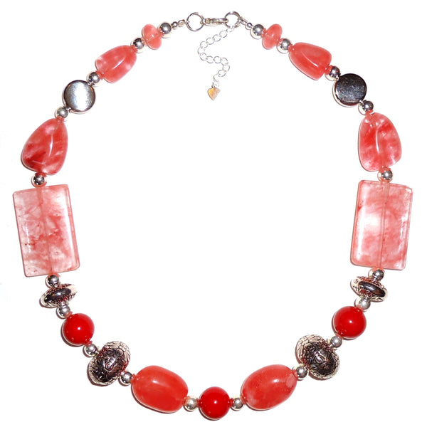 Rose Quartz with Silver Plate Beads Necklace
