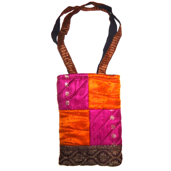 Patchwork Bag - Orange/Fuchsia