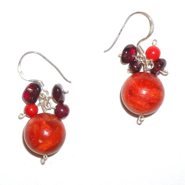 Stone Drop Earrings - Red
