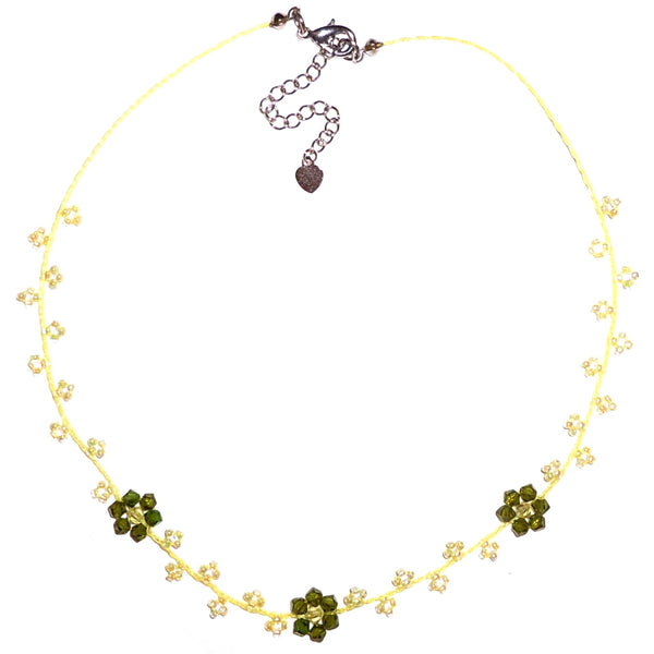 Three Flower Seed Bead Necklace - Lemon/Lime